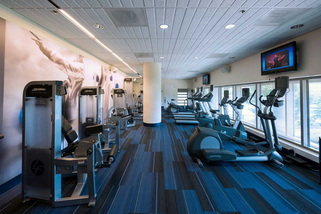 Equipped fitness center at Wilmington, DE riverfront apartments
