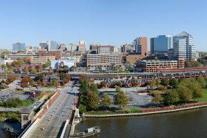 overhead view of riverfront near apartment in wilmington de